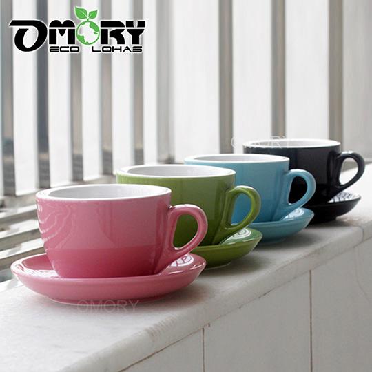 OMORY 加厚款陶瓷色釉咖啡杯盤組